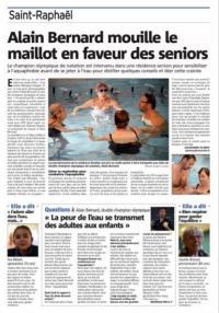 Article de presse de notre lancement Aquabike/Aquatraining St Raphael - Var Matin